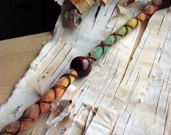 1 Single X-Cross Wrapped Lucky Clover Tie-Dye Wool Synthetic *Clip-in Dreadlock Extension Boho Dread Hair Wrap