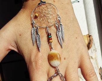 Peace Catcher Bohemian Dreamcatcher  Bracelet Bracelet Hippie Tribal  Antiqued Brass  Native American Inspired