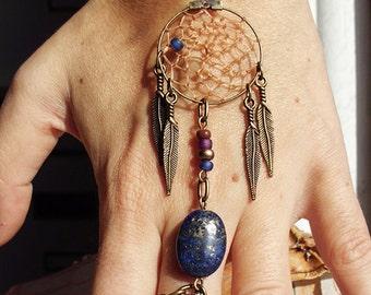 Peace Catcher Navy Lapis Bohemian Dreamcatcher  Bracelet Bracelet  Hippie Tribal  Antiqued Brass  Native American Inspired