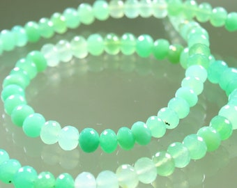 AA Minty Green Chrysoprase Micro-Faceted Rondelle Beads 5mm - 6mm