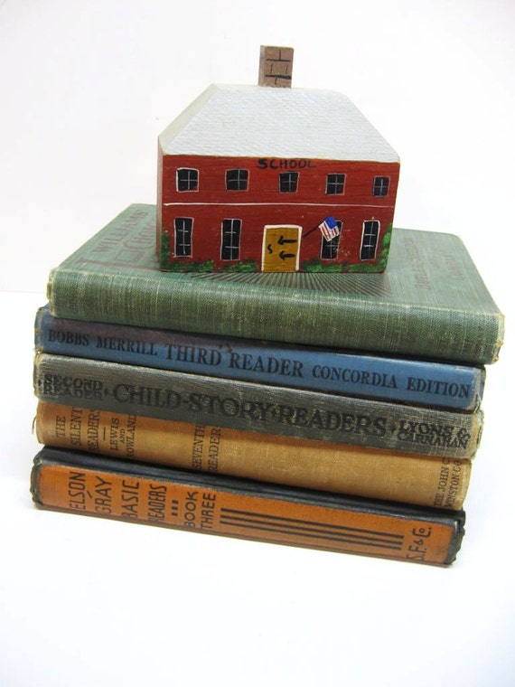 Vintage Childrens School Books - Elementary Readers - Back to School - Instant Library - Shabby