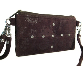 Cocoa Brown Suede Leather Wallet - Removable Straps - Upcycled Suede - ANNIE