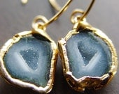 Gray Agate Druzy Earrings in 14k gold