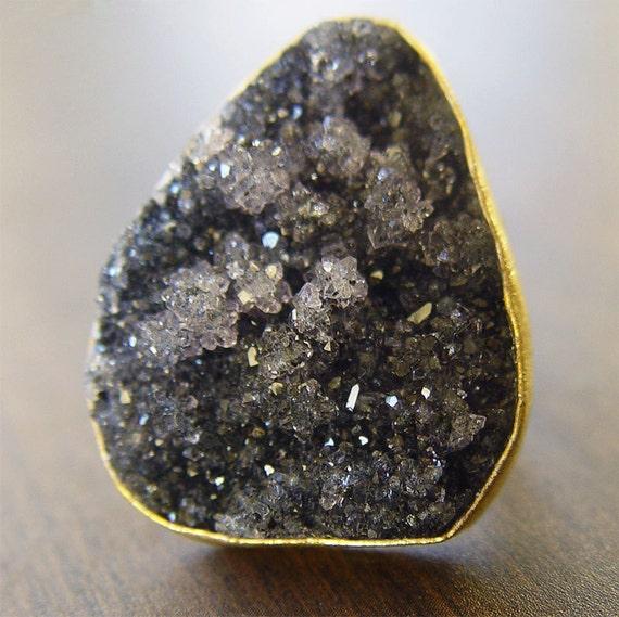 Black Druzy Gold Ring - OOAK - Statement Piece