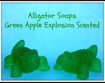 ALLIGATOR SOAPS - Kids Party Favors Soap Set Of 2 - Green Apple Explosion Scent - Kids Amphibian Gift Soaps - Decoration - Handmade In USA