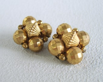 Vintage Metallic Gold Clip On Earrings Fifties