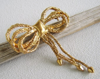 Vintage Gold Chain Bow Brooch Unusual