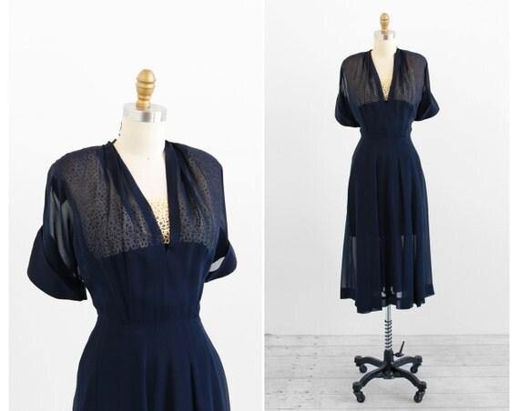 r e s e r v e d 1940s dress / 40s dress / Sheer Navy Blue