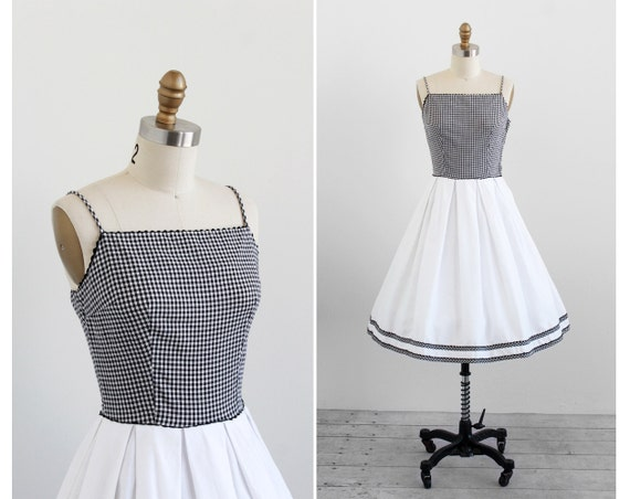 vintage 1950s dress / 50s dress / Black and White Gingham Sundress