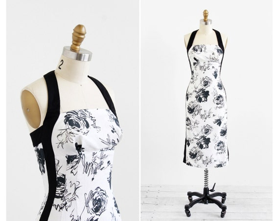 r e s e r v e d - vintage 1950s dress / 50s wiggle dress / Black and White Roses Halter Wiggle Dress
