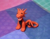 Handmade Polymer Clay Red and Black Mini Spike Head open mouth Dragon Figurine with Bead Eyes
