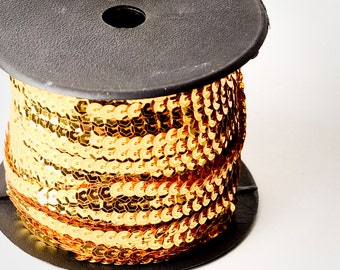80 yard full spool, Metallic Gold Single Strand Sequin Trim
