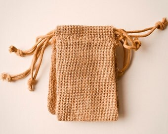 75 Burlap Bags 3x5, Jute, Natural Drawstring Sack, Rustic Gift Bag Wedding Favor