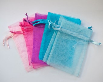 50 Organza Bags, 5x8 inch, multi color pastel rainbow, Light Pink, Hot Pink, Purple, Aqua, and Light Blue