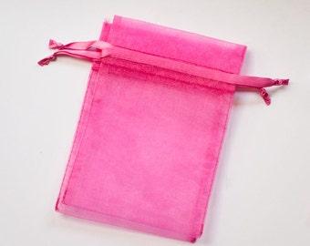 50 Organza Bags, 4x6 inch Hot Dark Pink Fuchsia organza bags