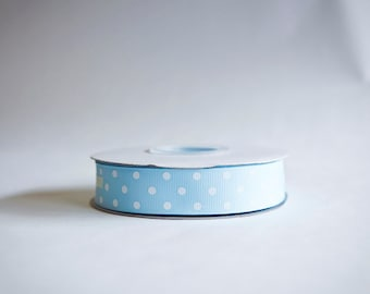 Polka Dot Grosgrain Ribbon, 25 yds. on the spool, Light Baby Blue, choose from 3 widths, 3/8ths, 5/8ths, or 7/8ths