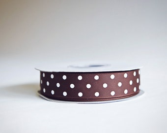 Brown Polka Dot Grosgrain Ribbon, 25 yds. on the spool, choose from 3 widths, 3/8ths, 5/8ths, or 7/8ths