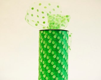 Polka Dot Tulle Spool, Bright Green, 6 inches wide, 25 yards, DIY wedding