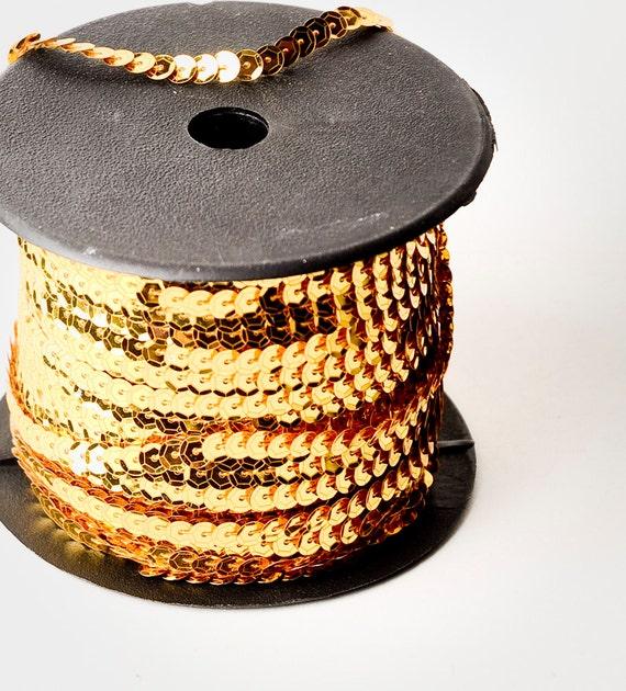80 yard full spool, Metallic Light Gold Single Strand Sequin Trim