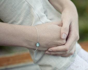 Mint charm bracelet - Bird bracelet - mint bracelet - dainty bracelet - Tiny bracelet - Chain bracelet - Spring jewelry (BT011)