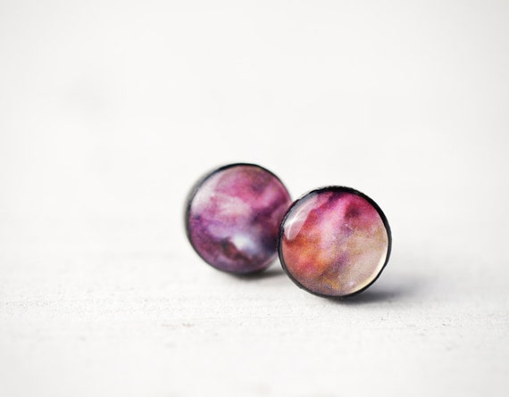 Universe earring studs - Pink ear posts - Space jewelry - Galaxy, Universe (E113)