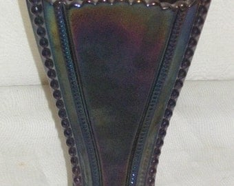 Vintage Purple Imperial Carnival Glass Tricorn Vase