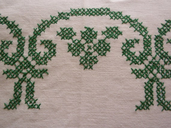 Reserved for Raquel - vintage tablecloth, embroidered tablecloth, large tablecloth, 66 x 51, white/green