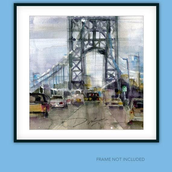 George Washington Bridge  Welcome to Fort Lee, NJ.....Watercolor Matt Print - Page Size 11 x 11