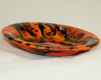 Spicy Orange Fused Boiled Glass Bowl