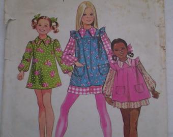 Girls Vintage 70s Dress & Smock Pattern Simplicity 9843- Size 6