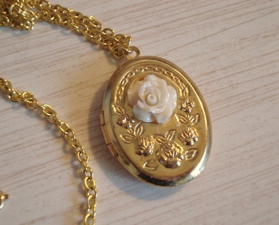 Gold Locket Necklace Rose Oval Photo Locket Ivory Flower Wedding Mothers Day Locket