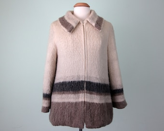 70s coat / scottish wool knit blanket stripe zipper (m - l)