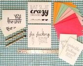 hand-lettered note cards: sassy little love notes, variety pack of 4 designs