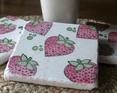 Strawberry Drink Coasters - Absorbent Tile Coasters - Set of 4