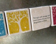 Four Seasons Tile Magnets, Set of 5, Ready to Ship