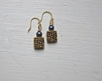 CLEARANCE: Patterned Gold-Plated Bead and Freshwater Pearl Earrings on 14k Gold