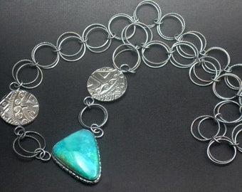 Sterling Silver Gem Silica Chrysocolla Necklace