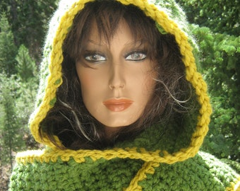 Hooded Scarf/ Scoodie Custom Crocheted Knit Two Color