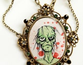sparkly Bloody Green Zombie original cameo necklace