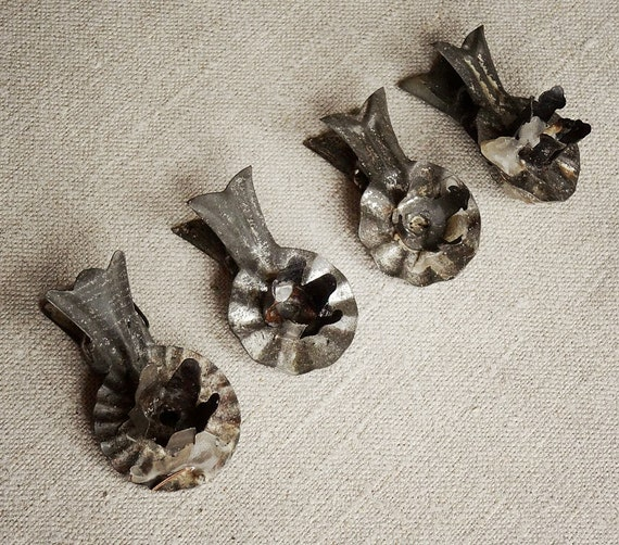 vintage christmas tree candle clips, set of 4 tin clips from the Netherlands, dark silvery patina