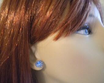 bridal stud earrings, blue rhinestone earrings, bridesmaid earrings, rhinestone stud earrings, Terri Collection