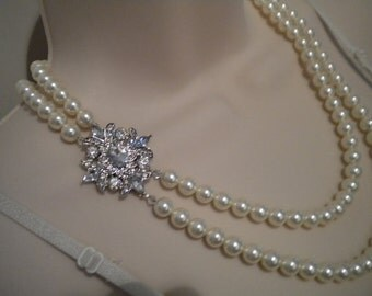 Pearl Necklace Vintage Style Necklace Bridal jewelry Rhinestone Necklace Tia II