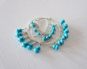 Turquoise hoop earrings.  Sterling silver chandelier earrings.  Sleeping beauty turquoise.