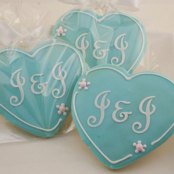 Heart Cookies, Monogrammed Wedding - 1 Dozen Decorated Cookies