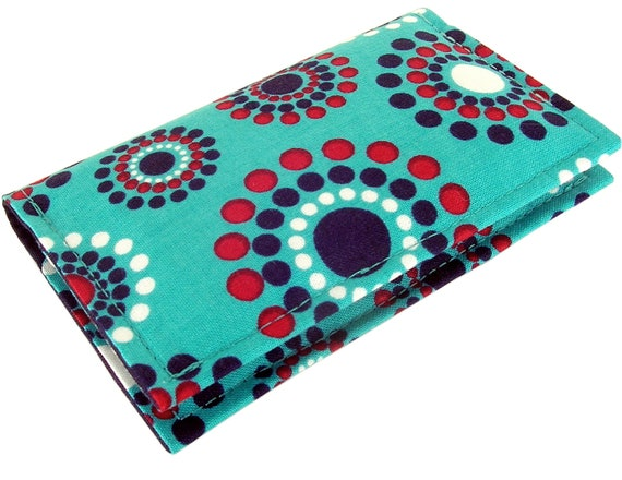 Fabric Business Card Holder Case or Credit Card Holder Case / Wallet, Turquoise with Floral Dots