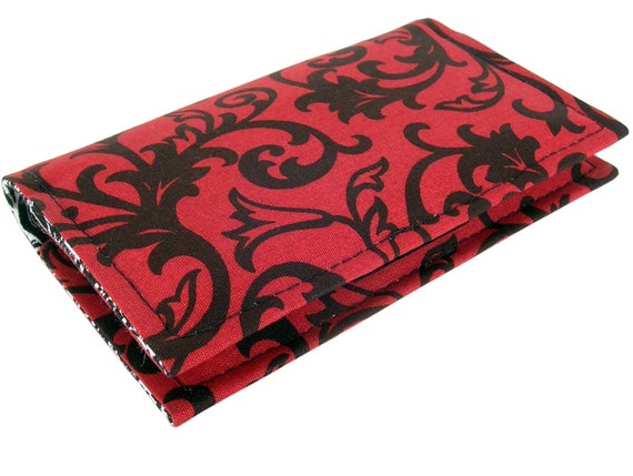 Fabric Business Card Holder Case or Credit Card Holder Case / Wallet, Red and Black
