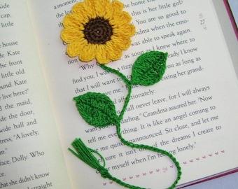 Handmade  Crocheted   Yellow  Sunflower  Bookmark,Bookmarks
