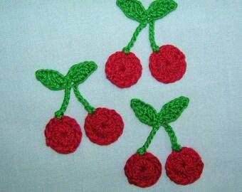 3  Crochet  Red  Cherry  Appliques/Scrapbooking/Crafts/Embellishments