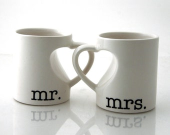 Mr & Mrs. mug set for couples, bride and groom, wedding, anniversary gift, heart handle mugs, gifts under 40