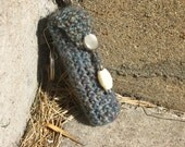 Blue Slate and Bone Beaded Crochet Chapstick Caddy Keychain and Zipper Pull